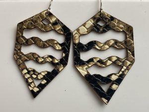 snake skin print leather earrings